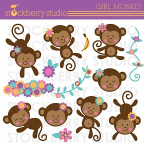 Its A Girl Monkey Twin Girls Clipart.