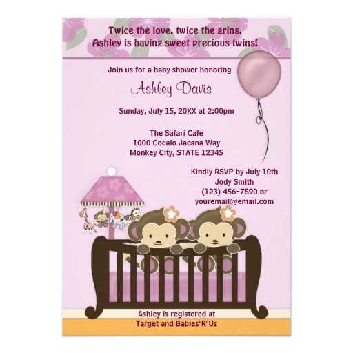 TWINS Monkey Baby Shower Invitation Crib ORCHID.