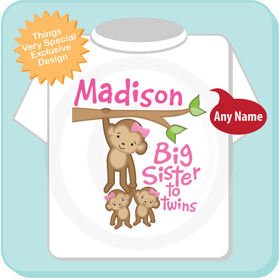 Big Sister to Twin Girls Shirt or Onesie, Monkey Shirt, Big Sister.