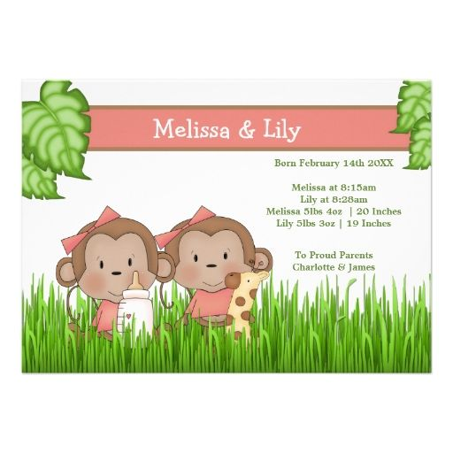 New Baby Twin Girls Cute Monkey Card.