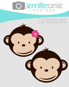 Twin girl monkeys clipart.