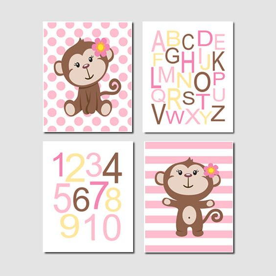 Girl Monkey Nursery Wall Art, Monkey Nursery Decor, Girl Nursery.