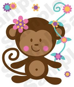 Monkey Twin Girls Clipart.