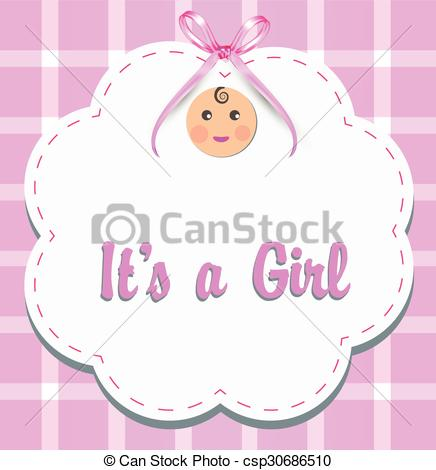 Vector Clip Art of Baby girl with ribbon.