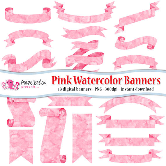 Pink watercolor banners clipart. Digital clip art. Commercial.
