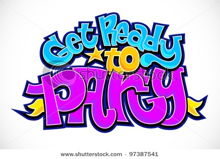 IT\'S PARTY TIME! colourful vector letters\