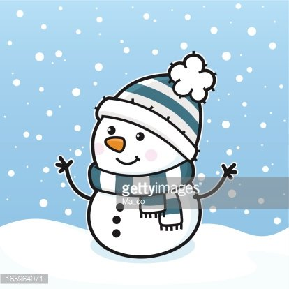 it's Snowing' / Happy Snowman With Scarf and Hat premium clipart.