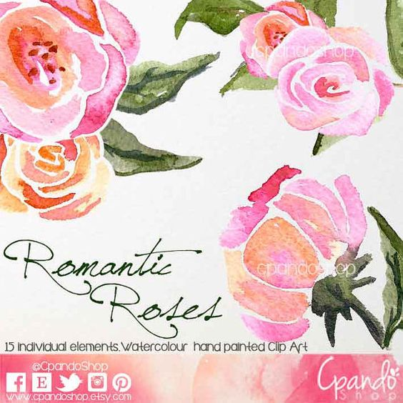 Watercolour Floral Clipart Roses, Watercolour Clip Art/Rose.