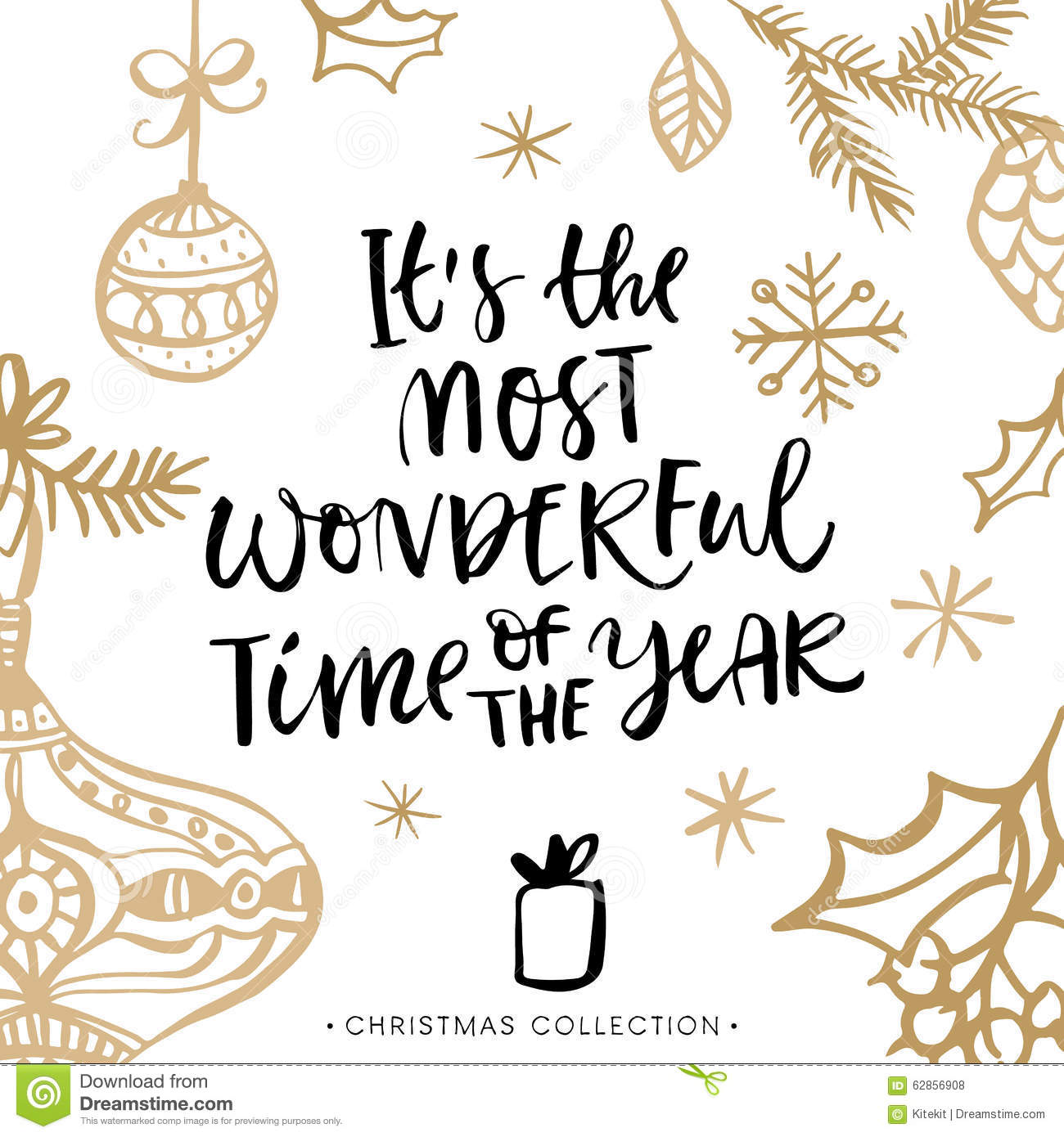 It's The Most Wonderful Time Of The Year! Christmas Card. Stock.
