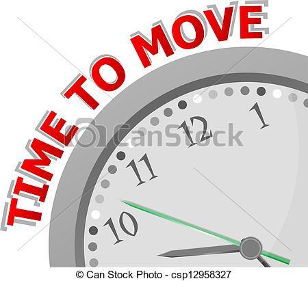 Clip Art of White clock with words Time to Move on its face.