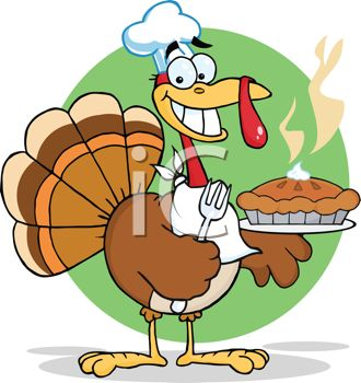 Picture of a Cartoon Turkey Wearing a Chef's Hat and a Napkin.