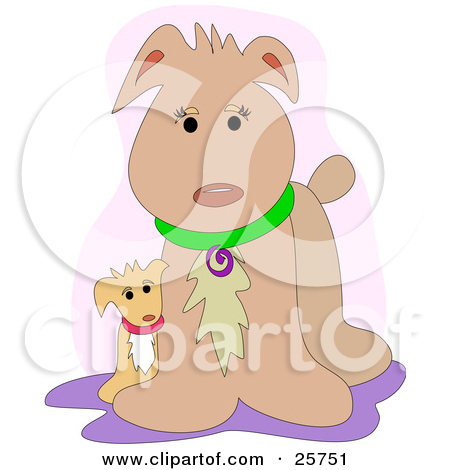 Clipart Illustration of a Christmas Dog Wearing A Santa Hat And A.