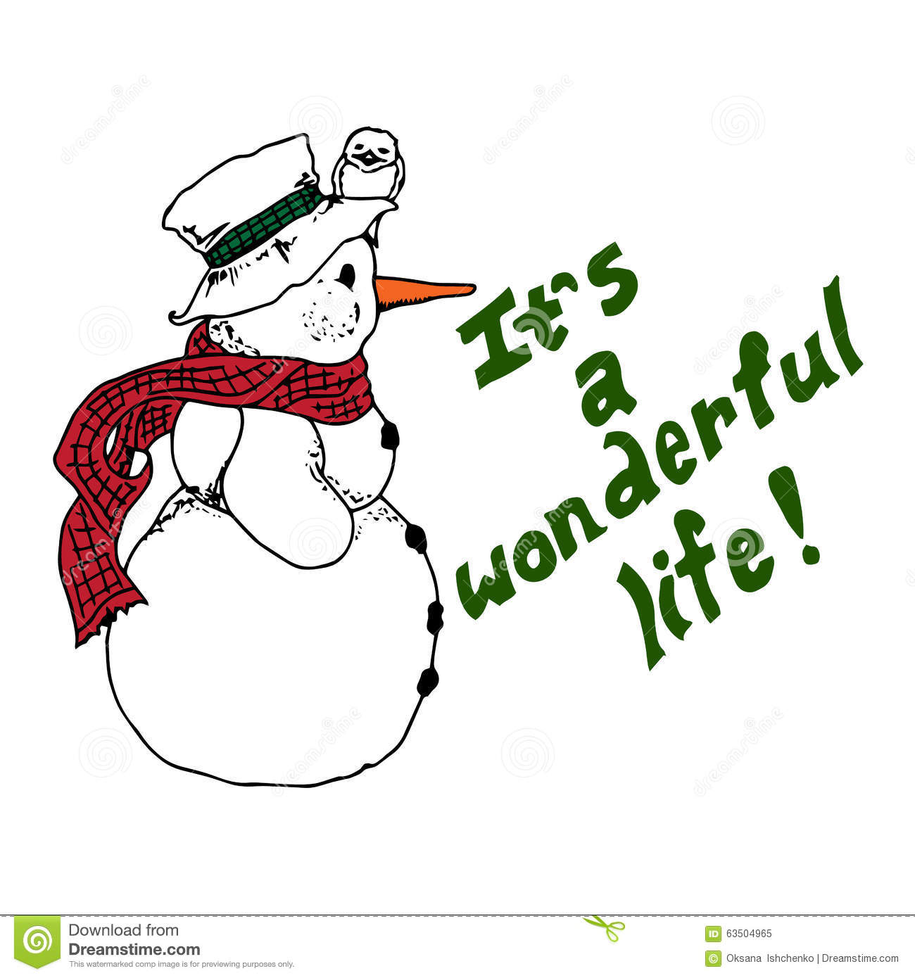Christmas Illustration. Snowman With A Bird Wearing A Hat. It's A.