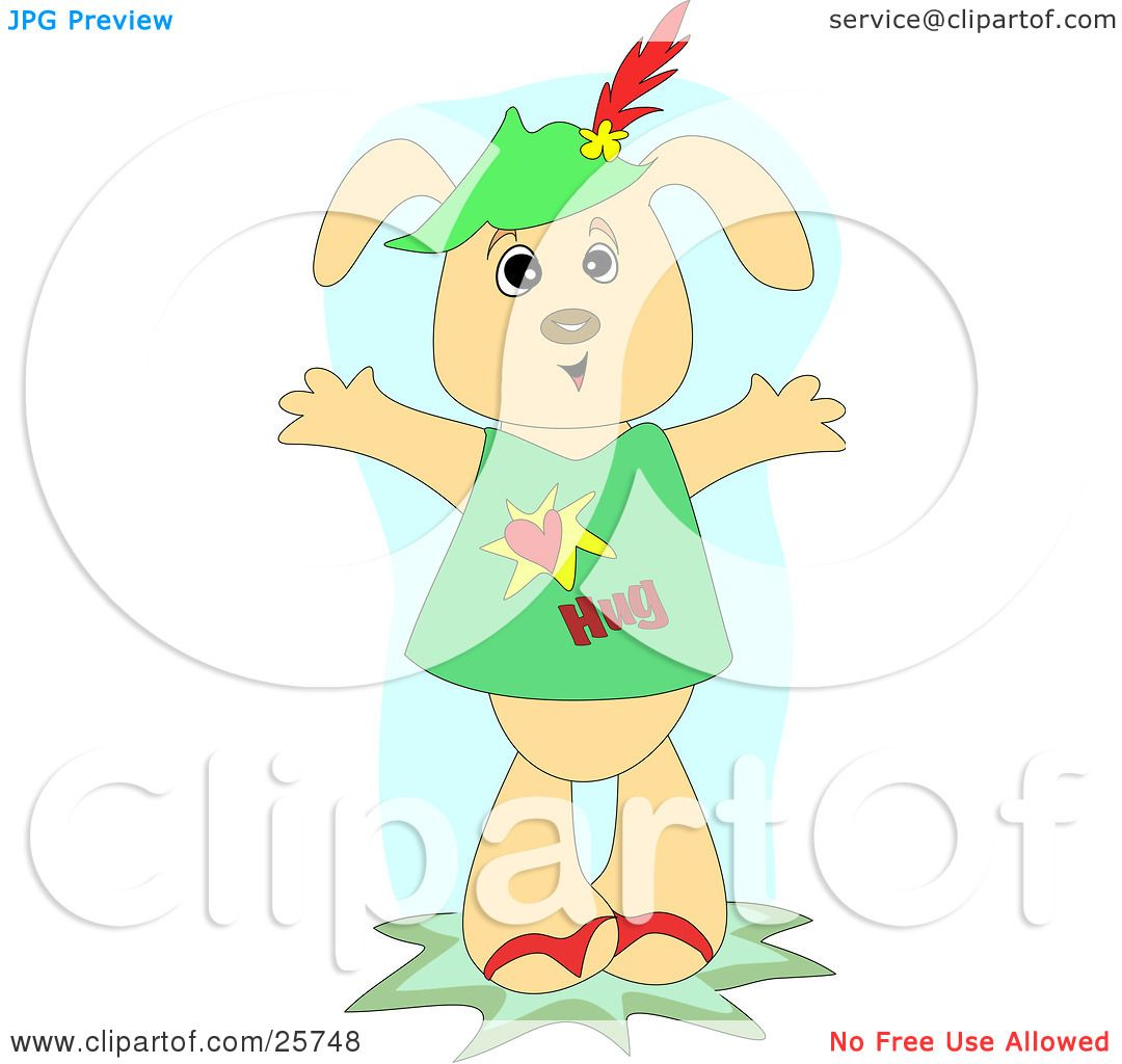 Clipart Illustration of a Loving Tan Dog Wearing A Hat And Shirt.