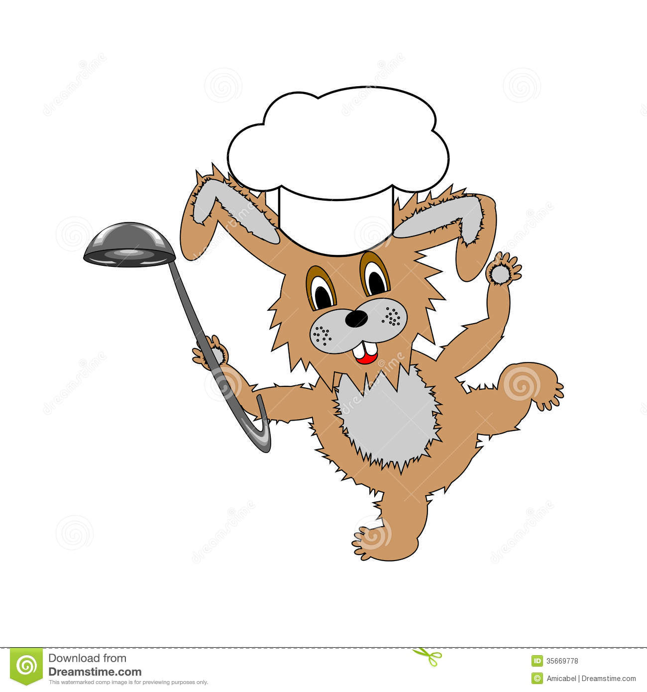 A Funny Cartoon Rabbit Wearing A Chef Hat And With Royalty Free.