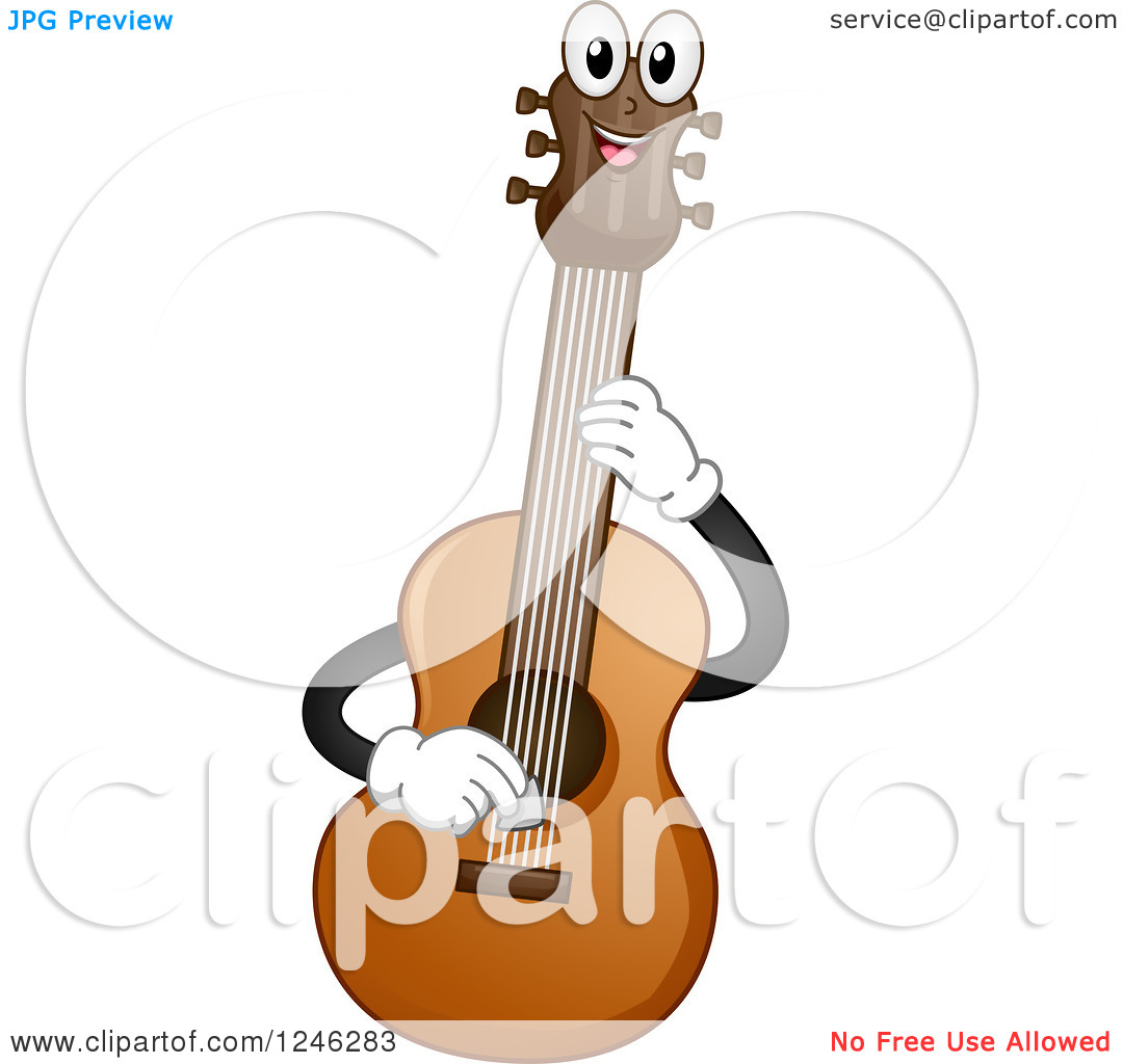 Clipart of a Happy Acoustic Guitar Playing Itself.