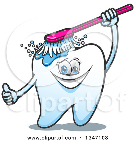 Clipart of a Cartoon Tooth Character Giving a Thumb up and.