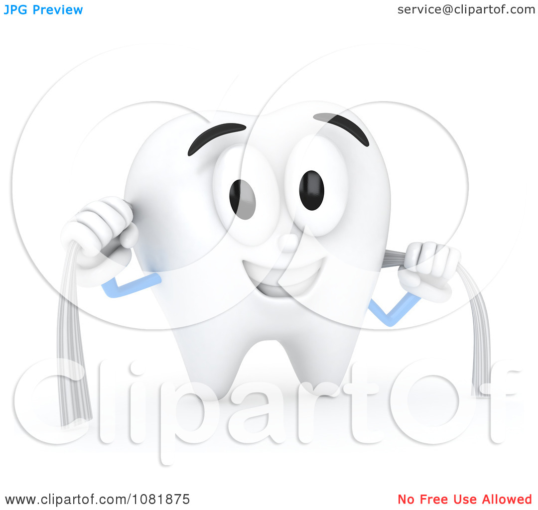Clipart 3d Tooth Flossing Itself.