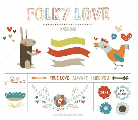 Folky Love (Clipart).