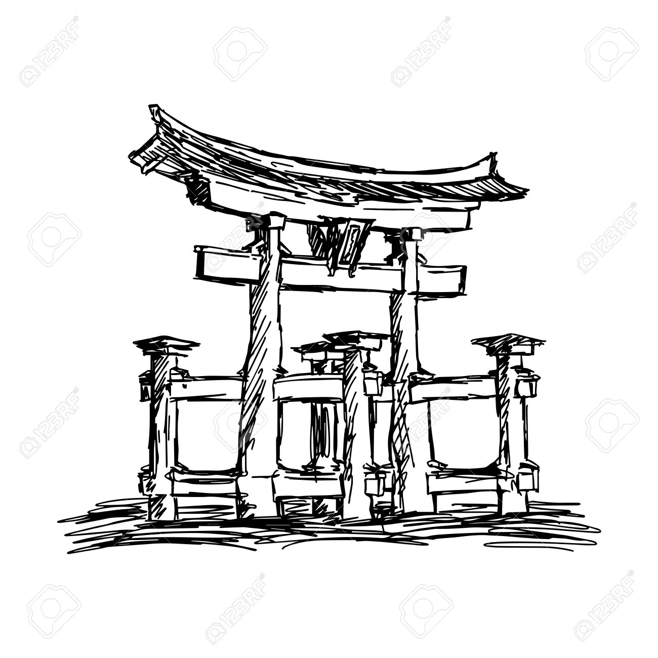 Illustration Vector Doodle Hand Drawn Of Sketch Itsukushima Shrine.