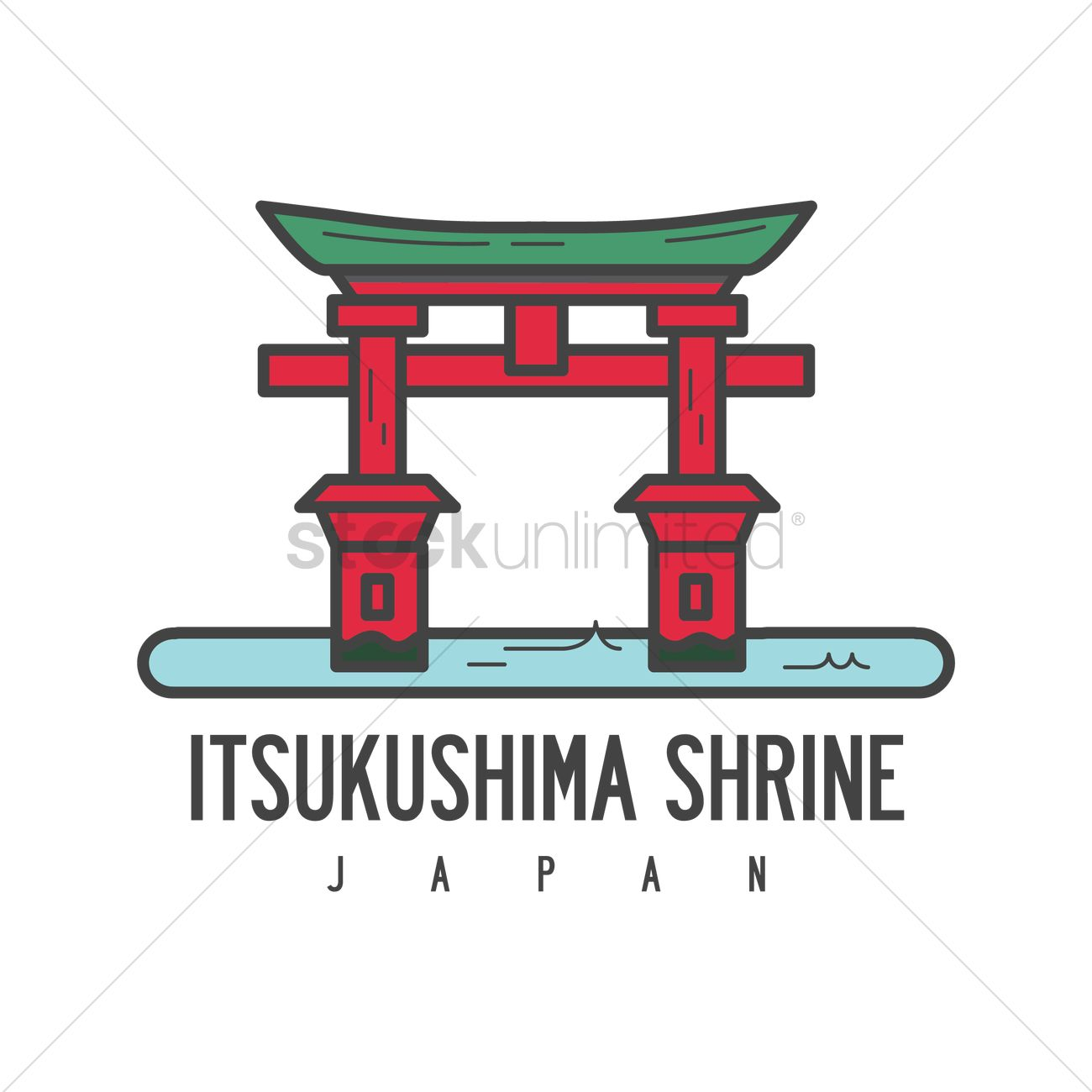 Itsukushima shrine Vector Image.