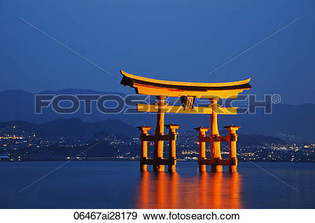 Stock Photograph of Miyajima Island, Itsukushima Shrine, Torii.