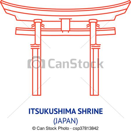 EPS Vector of Itsukushima shrine, Japan, vector.