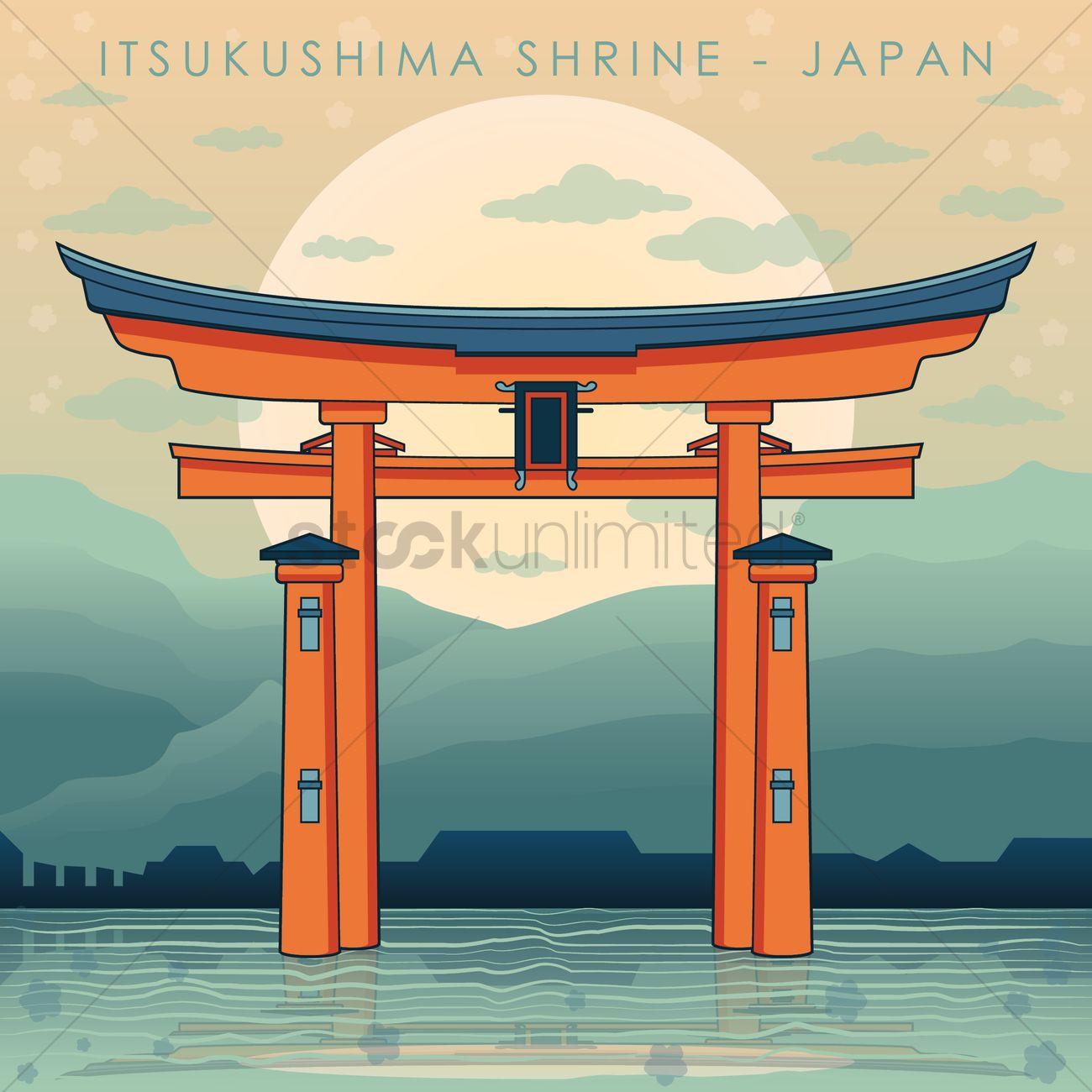 Itsukushima shrine Vector Image.