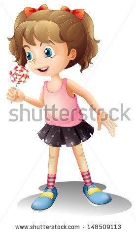 Illustration Kid Girl Student Wearing Backpack Stock Vector.