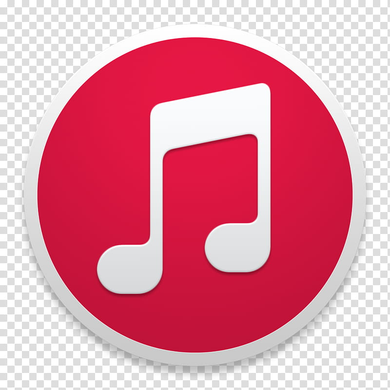 ITunes RED, red and white music icon transparent background.