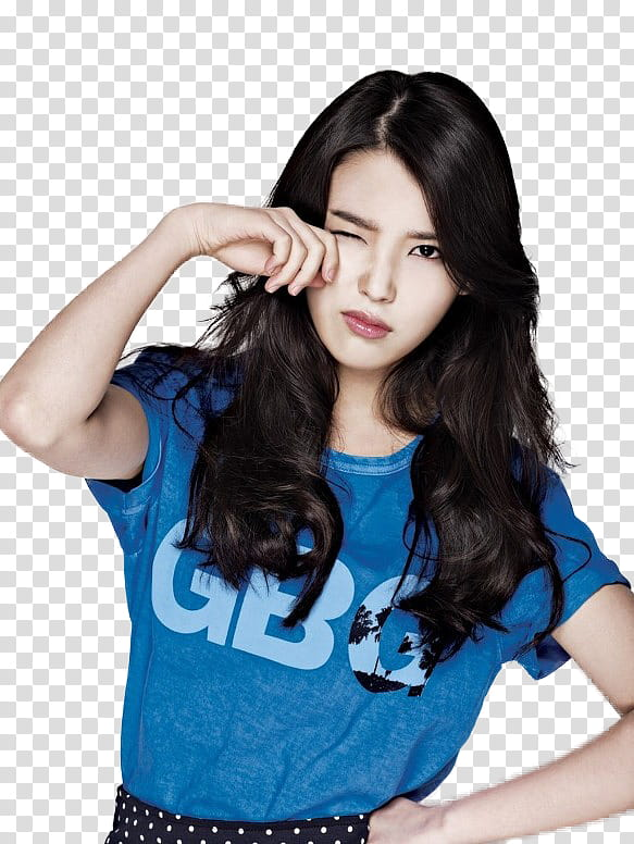 IU, woman wearing blue shirt transparent background PNG.