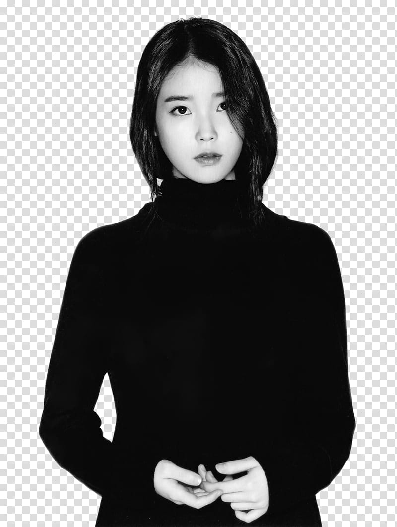 IU, grayscale of woman in turtleneck sweater transparent.
