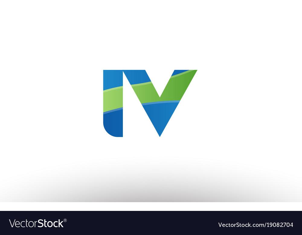 Blue green iv i v alphabet letter logo.