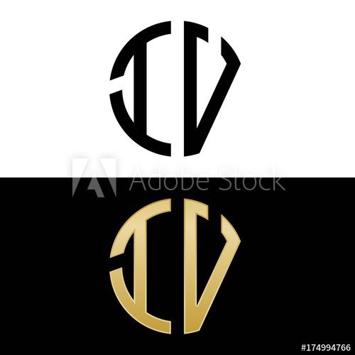 iv initial logo circle shape vector black and gold.