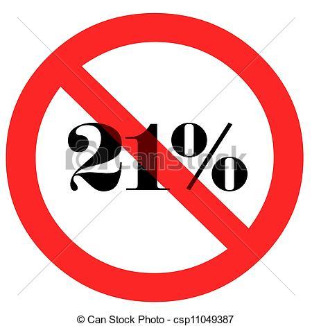 Stock de Ilustraciones de Porcentaje, 21, prohibido.