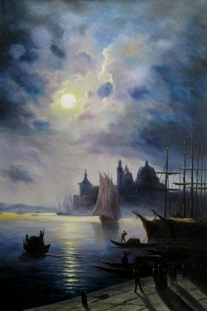 Aliexpress.com : Buy Ivan Aivazovsky Venice At Night Oil Painting.