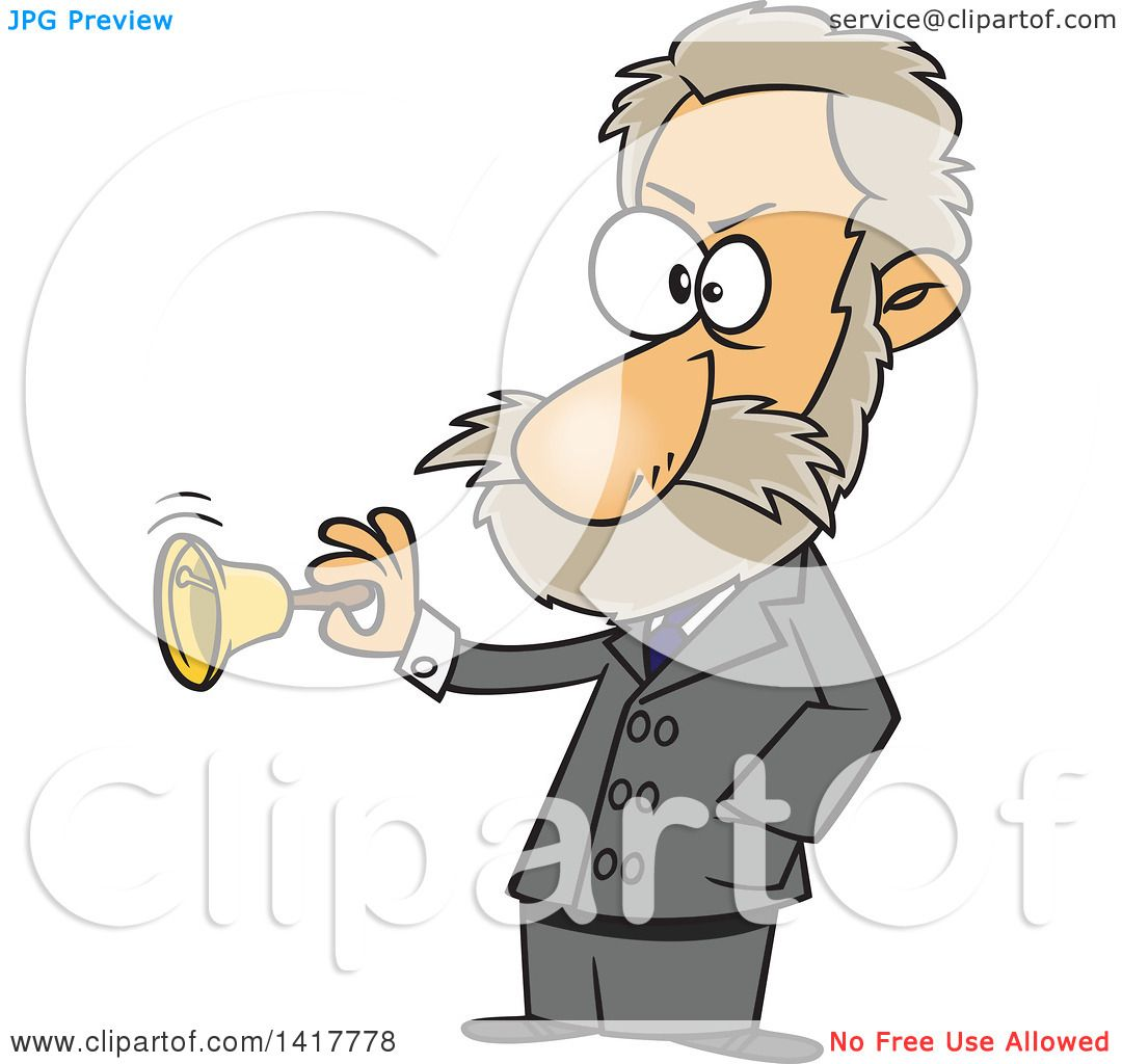 Clipart of a Cartoon Physiologist, Ivan Pavlov, Ringing a Bell.