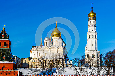 Archangel Cathedral And Ivan The Great Belfry Of Moscow Kremlin.
