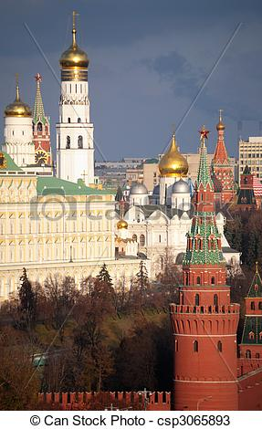 Stock Photos of View of Moscow Kremlin and belfry of Ivan the.