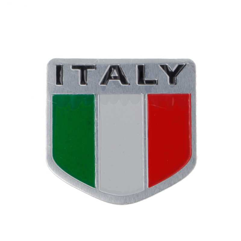 Aluminum Italian Flag Car Sticker Logo Emblem Badge For Iveco Lamborghini  Alfa.