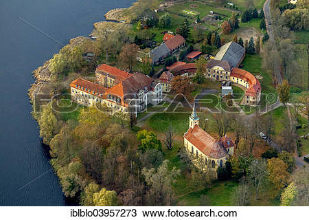 "Stock Photo of ""Aerial view, Schloss Ivenack Castle with castle."