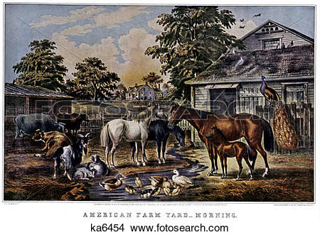 Stock Photo of 1850S American Farmyard Morning.