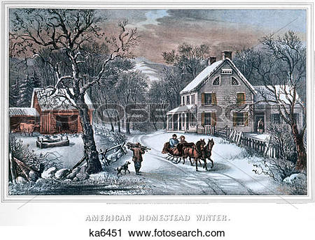 Stock Photography of 1800s lithograph of american homestead winter.