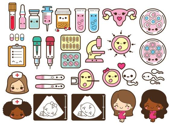 Kawaii IVF clipart, pregnancy clipart, conceiving clipart, petri.