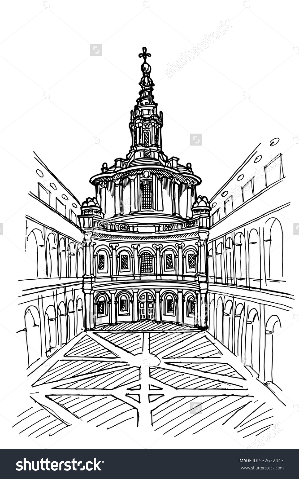 Vector Sketch Saint Yves La Sapienza Stock Vector 532622443.