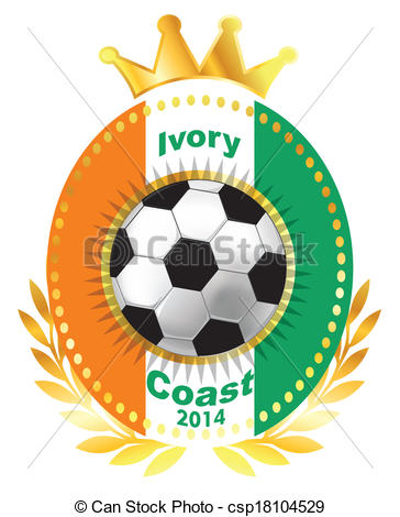 Vector Illustration of Soccer ball on Ivory Coast flag csp18104529.