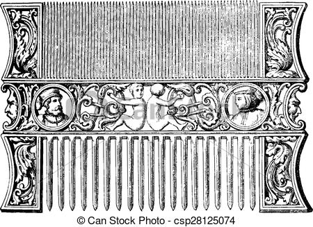 Vectors Illustration of Carved ivory comb (sixteenth century.