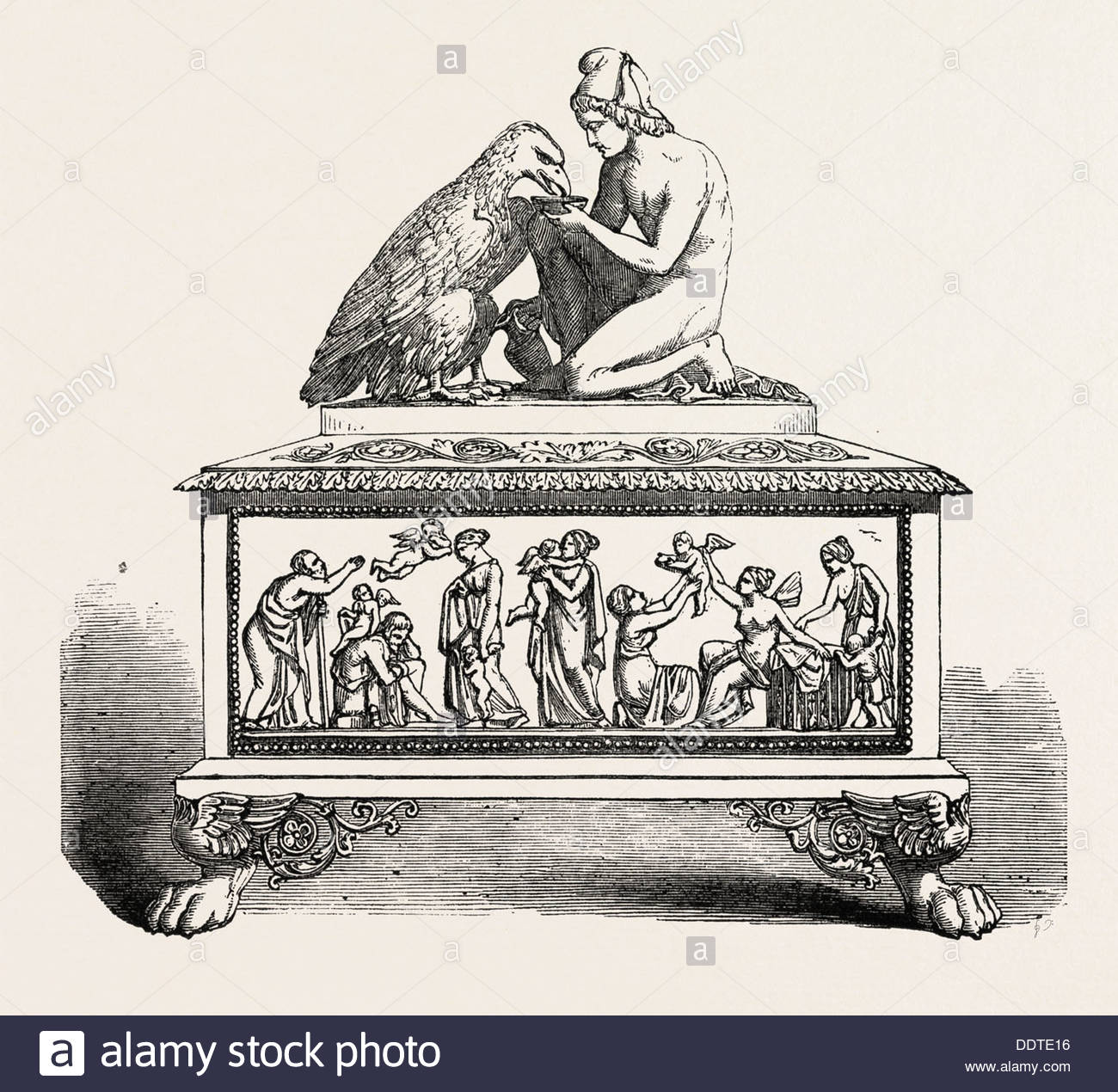 Ivory Casket, From Denmark, 1851 Engraving Stock Photo, Royalty.
