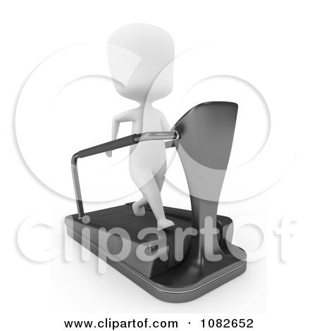 Clipart 3d Ivory Man Running On A Treadmill.