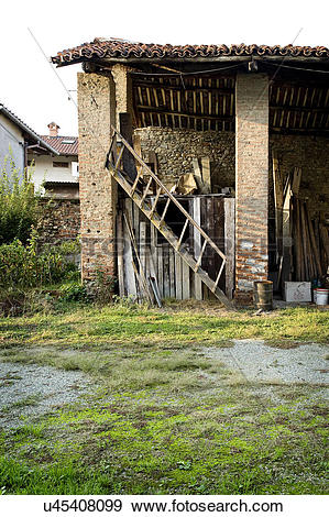 Stock Photograph of Damaged house in Albiano d'Ivrea, Italy.